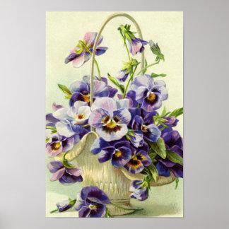 Poster Panier pourpre de pensée de copie de fleurs
