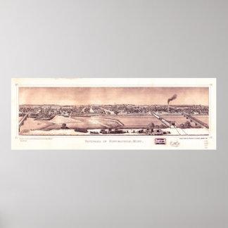 Poster Panorama de Minneapolis, Minnesota (1873)