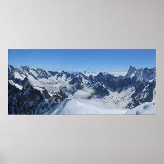 Poster Panorama français de Chamonix d'Alpes