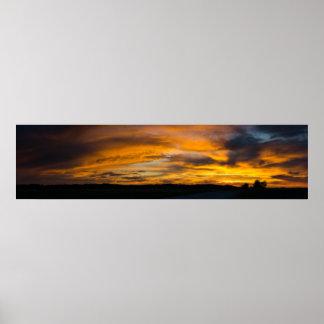 Poster Panorama rural de coucher du soleil