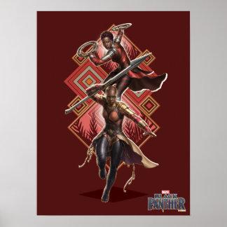 Poster Panthère noire | Nakia et graphique d'Okoye