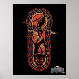 Poster Panthère noire | Okoye et panneau de Nakia