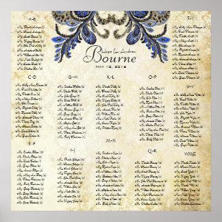 Poster Paon de marine - 100 à 150 invités - alphabétique
