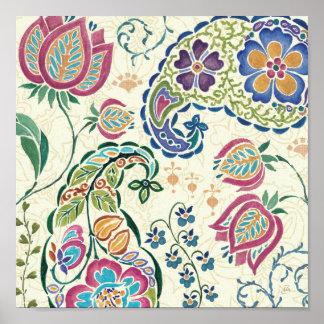 Poster Paon décoratif et fleurs colorées