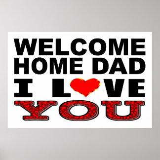 Poster Papa à la maison bienvenu je t'aime