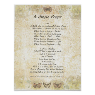 Poster PAPE FRANCIS= ST FRANCIS PRAYER=Butterfly SIMPLE