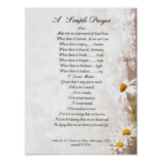 Poster PAPE FRANCIS= ST FRANCIS PRAYER=Daisies SIMPLE