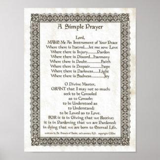 Poster PAPE FRANCIS= ST FRANCIS PRAYER=Parchment SIMPLE