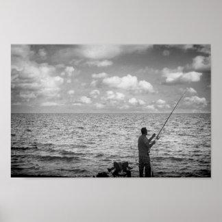 """Poster Papier d'affiche Black&White """"le pêcheur du nuage"""
