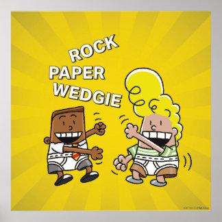 Poster Papier Wedgie de roche de capitaine Underpants  