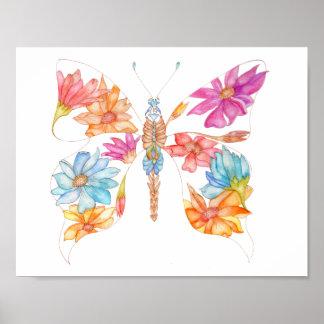 Poster Papillon floral