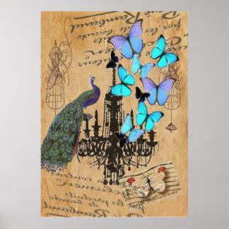 Poster papillon vintage moderne de bleu de paon de lustre