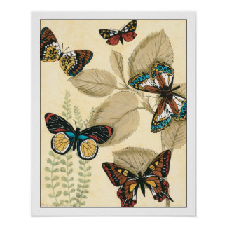 Poster Papillons glissant au-dessus du feuille