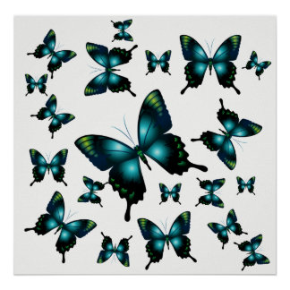 Poster Papillons lunatiques élégants d'Aqua