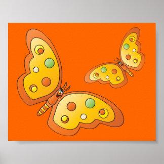 Poster Papillons mignons d'orange de bande dessinée