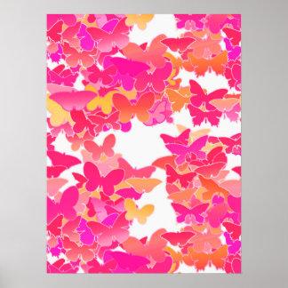 Poster Papillons, rose, fuchsia et corail