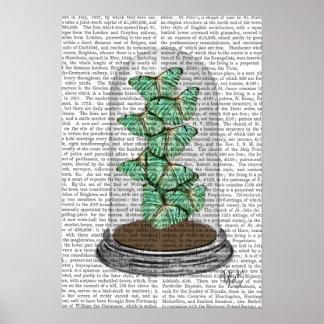 Poster Papillons verts dans cloche en verre