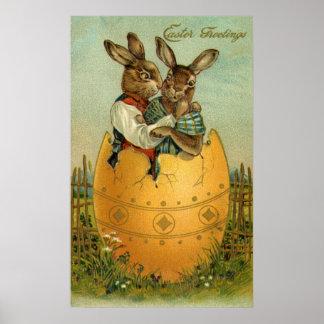 Poster Pâques vintage, lapins victoriens dans un oeuf