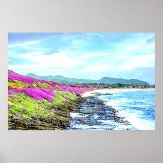 Poster Paradis tropical de Shoreline d'île hawaïenne