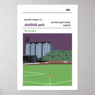 Poster Parc de Shielfield, Berwick sur le tweed. Style de