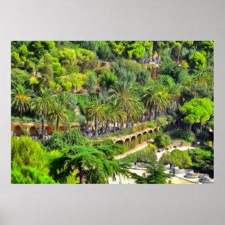 Poster Parc Güell. Vue panoramique de la cloison centrale