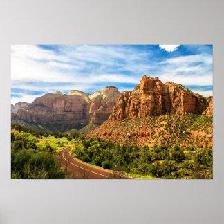 Poster Parc national de l'Utah de montagnes de Zion