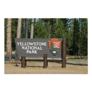 Poster Parc national de Yellowstone, signe, Wyoming,