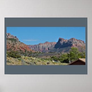 Poster Parc national de Zion de montagnes