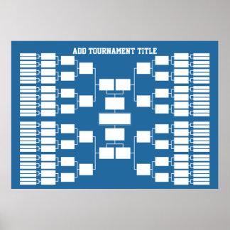 Poster Parenthèse de tournoi de sports pour 64 équipes