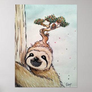 Poster Paresse animale mignonne avec l'affiche de cabane