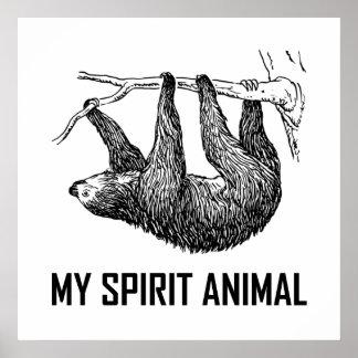 Poster Paresse mon animal d'esprit drôle