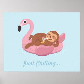 Poster Paresse paresseuse mignonne sur la copie rose de