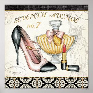 Poster Parfum, rouge à lèvres rouge, et une chaussure