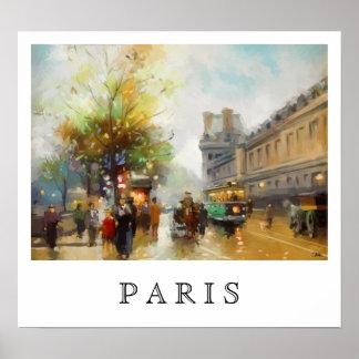Poster Paris un jour pluvieux. Peinture d'aquarelle.