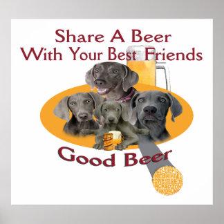 Poster Part de 4 Weimaraners une affiche de bière