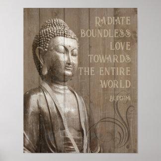 Poster Partagez la citation en bois bouddhiste de Bouddha