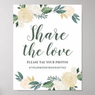 Poster Partagez les fleurs de neutre de l'amour  