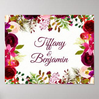 Poster Partie de fiançailles florale rouge de mariage de