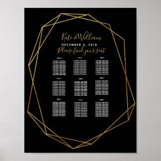 Poster partie/mariage noirs en cristal géométriques de