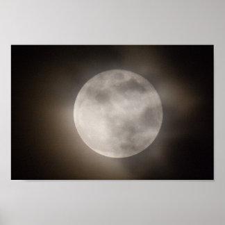 Poster Partiellement pleine lune de Cloudly, Ohio