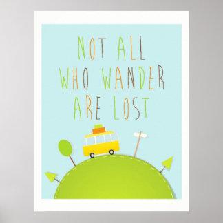 Poster Pas tous ce que Wander sont copie perdue de voyage