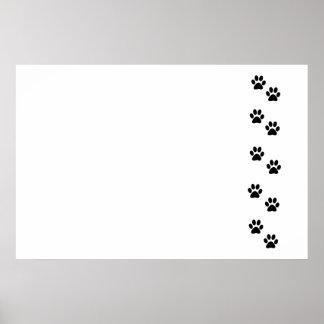 Poster Pattes de chien, traces, empreintes de pattes -
