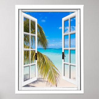 Poster Paumes et vue artificielle de fenêtre de plage