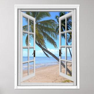 Poster Paumes tranquilles et vue artificielle de fenêtre