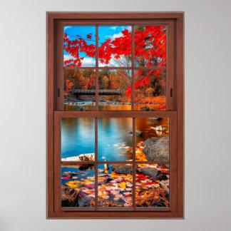Poster Paysage de fenêtre panoramique d'automne -