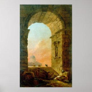 Poster Paysage de Hubert Robert avec la voûte un St Peter