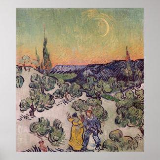 Poster Paysage éclairé par la lune de Vincent van Gogh |,