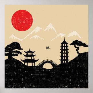 Poster Paysage japonais - style grunge