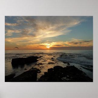 Poster Paysage marin du coucher du soleil I la Californie