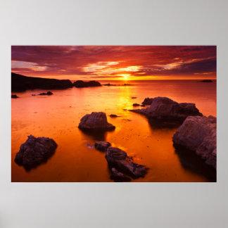 Poster Paysage marin orange, coucher du soleil, la